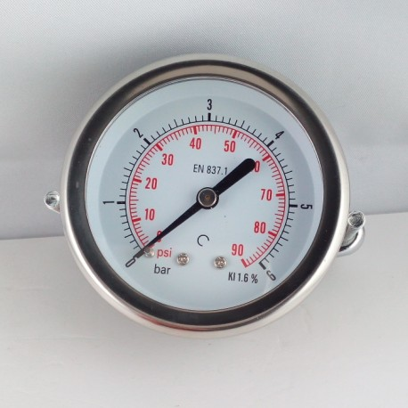 Dry pressure gauge 6 Bar diameter dn 63mm u-clamp