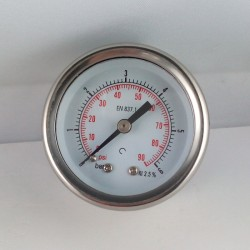 Glycerine filled pressure gauge 6 Bar diameter dn 50mm back
