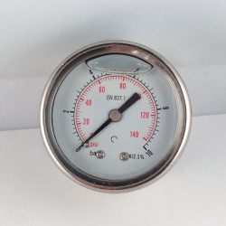 Glycerine filled pressure gauge 10 Bar diameter dn 50mm back