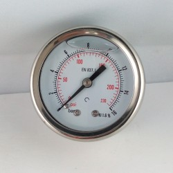 Glycerine filled pressure gauge 16 Bar diameter dn 50mm back