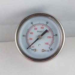 Glycerine filled pressure gauge 100 Bar diameter dn 50mm back