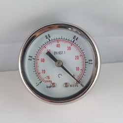 Glycerine filled vacuum gauge -1 Bar diameter dn 50mm back