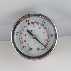 Glycerine filled vacuum gauge -1 Bar diameter dn 50mm back