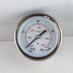 Manometro glicerina 400 Bar diametro dn 50mm posteriore