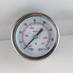 Manometro glicerina 160 Bar diametro dn 50mm posteriore