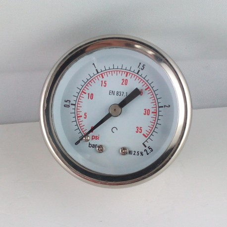 Glycerine filled pressure gauge 2,5 Bar diameter dn 50mm back