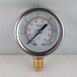 Glycerine filled pressure gauge 6 Bar diameter dn 50mm bottom