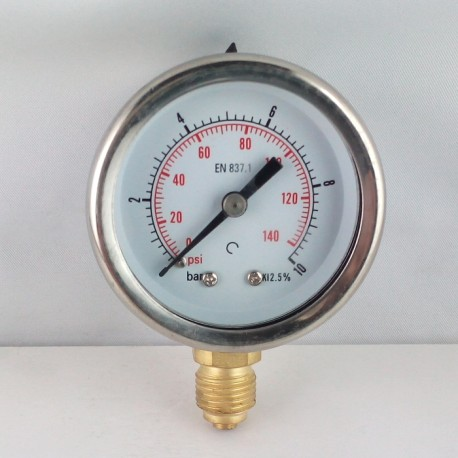 Glycerine filled pressure gauge 10 Bar diameter dn 50mm bottom