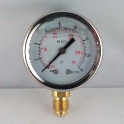 Glycerine filled pressure gauge 16 Bar diameter dn 50mm bottom
