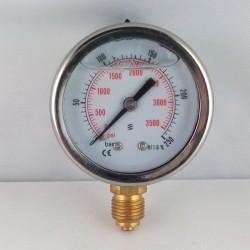 Glycerine filled pressure gauge 250 Bar diameter dn 50mm bottom
