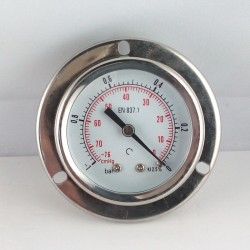 Glycerine filled vacuum gauge -1 Bar flange dn 50mm