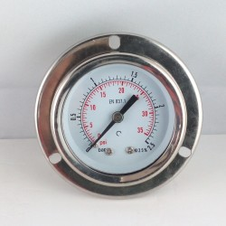 Glycerine filled pressure gauge 2,5 Bar flange dn 50mm back