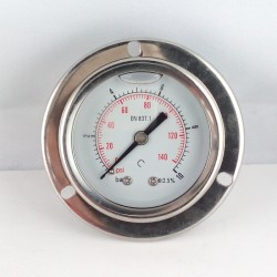 Glycerine filled pressure gauge 10 Bar flange dn 50mm back