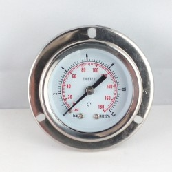 Glycerine filled pressure gauge 12 Bar flange dn 50mm back