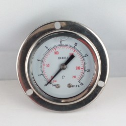 Glycerine filled pressure gauge 16 Bar flange dn 50mm back