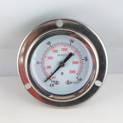 Glycerine filled pressure gauge 250 Bar flange dn 50mm back