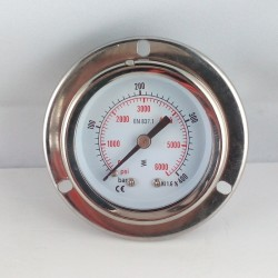 Glycerine filled pressure gauge 400 Bar flange dn 50mm back