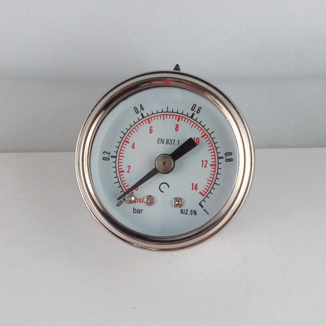 Glycerine filled pressure gauge 1 Bar diameter dn 40mm back