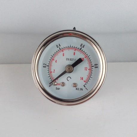 Glycerine filled pressure gauge 1 Bar diameter dn 40mm back