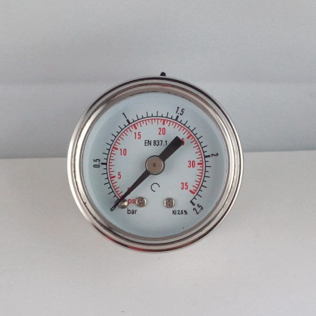 Glycerine filled pressure gauge 2,5 Bar diameter dn 40mm back co