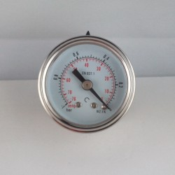 Glycerine filled vacuum gauge -1 Bar diameter dn 40mm back