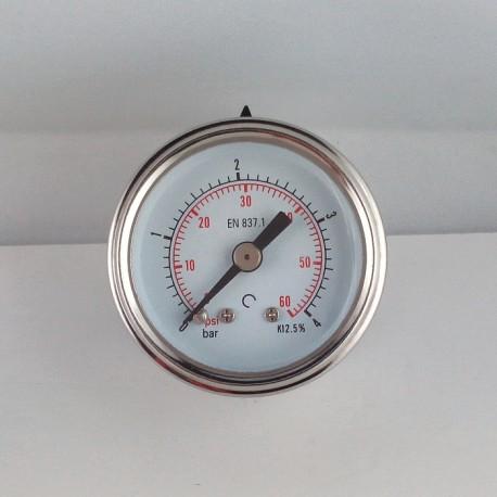 Glycerine filled pressure gauge 4 Bar diameter dn 40mm back
