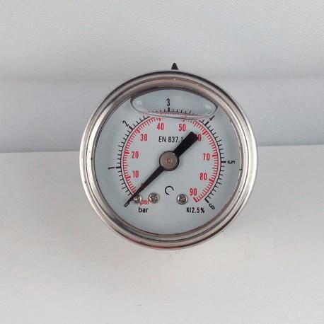 Glycerine filled pressure gauge 6 Bar diameter dn 40mm back