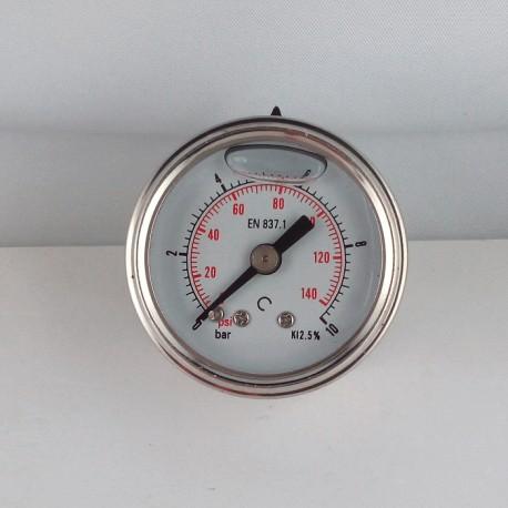 Glycerine filled pressure gauge 10 Bar diameter dn 40mm back