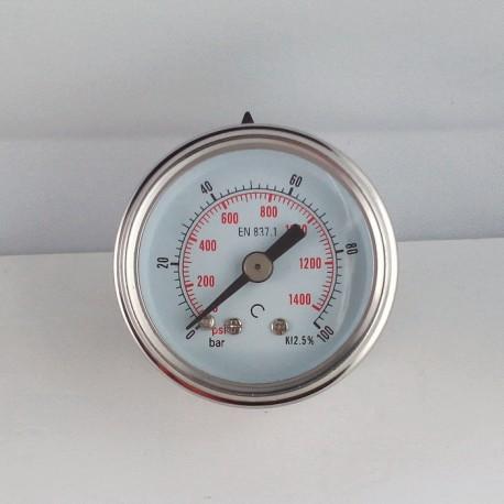 Glycerine filled pressure gauge 100 Bar diameter dn 40mm back