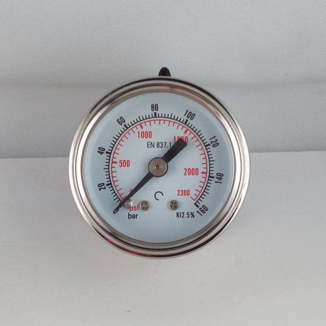 Glycerine filled pressure gauge 160 Bar diameter dn 40mm back