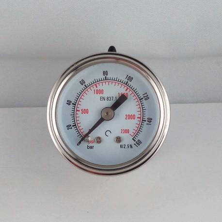 Glycerine filled pressure gauge 160 Bar diameter dn 40mm back