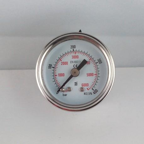 Glycerine filled pressure gauge 400 Bar diameter dn 40mm back