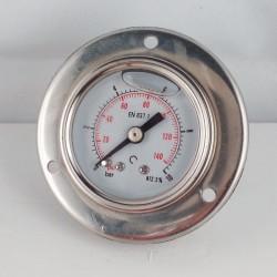 Glycerine filled pressure gauge 10 Bar flange diameter dn 40mm