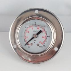 Glycerine filled pressure gauge 12 Bar flange diameter dn 40mm