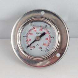 Glycerine filled pressure gauge 25 Bar flange diameter dn 40mm