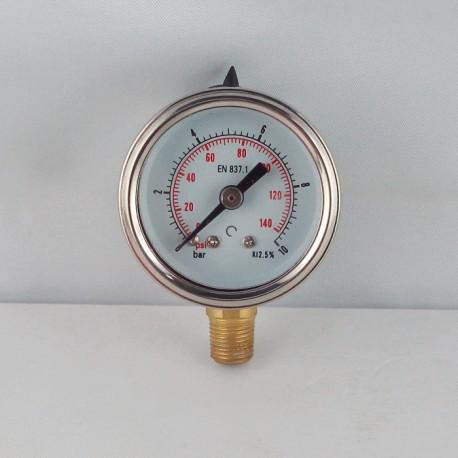 Glycerine filled pressure gauge 10 Bar diameter dn 40mm bottom
