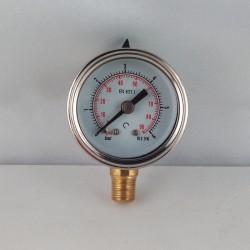 Glycerine filled pressure gauge 6 Bar diameter dn 40mm bottom