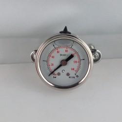 Glycerine filled pressure gauge 10 Bar diameter dn 40mm u-clamp