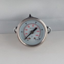 Glycerine filled pressure gauge 100 Bar diameter dn 40mm u-clamp