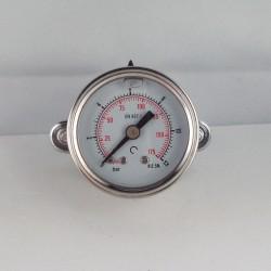Glycerine filled pressure gauge 12 Bar diameter dn 40mm u-clamp