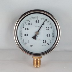 Glycerine filled compound gauge -1+0,6 Bar diameter dn 100mm bottom