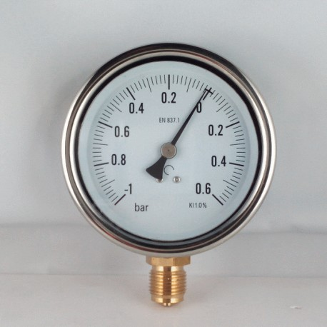 Glycerine filled vacuum gauge -1+0,6 Bar diameter dn 100mm bottom