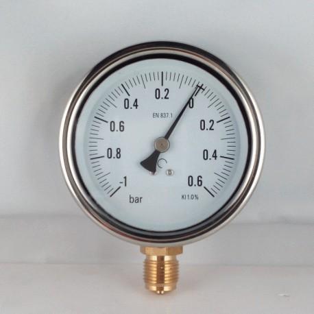 Glycerine filled vacuum gauge -1+0,6 Bar diameter dn 100mm bottom