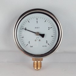 Glycerine filled compound gauge -1+3 Bar diameter dn 100mm bottom
