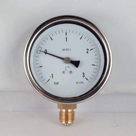 Glycerine filled vacuum gauge -1+3 Bar diameter dn 100mm bottom