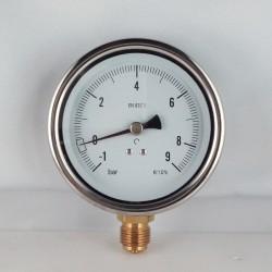 Glycerine filled compound gauge -1+9 Bar diameter dn 100mm bottom
