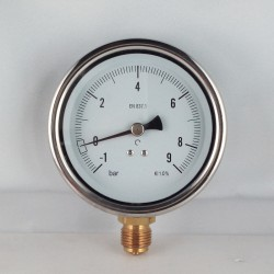 Manovuotometro glicerina -1+9 Bar diametro dn 100mm radiale