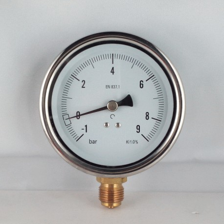 Glycerine filled vacuum gauge -1+9 Bar diameter dn 100mm bottom