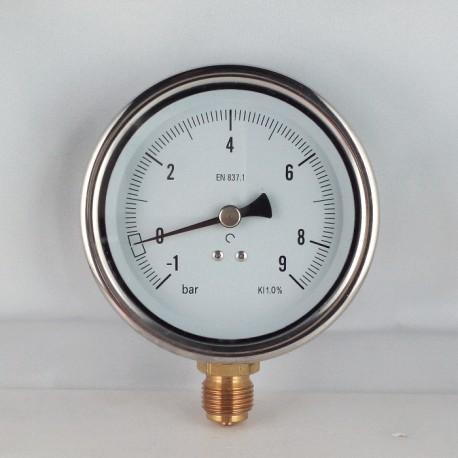 Glycerine filled vacuum gauge -1+9 Bar diameter dn 100mm bottom
