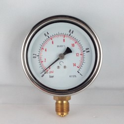 Glycerine filled pressure gauge 1 Bar diameter dn 100mm bottom